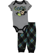 Disney Mickey Mouse Newborn Baby- Boy 2 Piece Creeper Bodysuit and Pants Set (3-6 mos.)