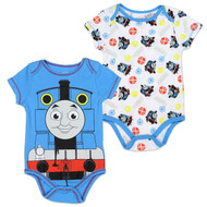 "Thomas The Train Baby Boys ""Creeper Onesie Bodysuit Snapsuit"" (2 Pack, Blue) (6-9 mos.)"