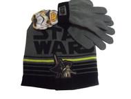 Star Wars Darth Vader Yoda Knit Winter Hat Gloves Set Black Grey