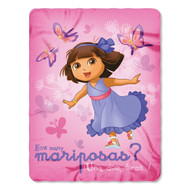 "Nickelodeon Dora the Explorer ""Butterfly Dances"" Plush Fleece Throw Blanket 46""x60"""