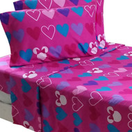 Disney Minnie Mouse 4pc Exploding Hearts Bow-Tique Full Bed Sheet Set