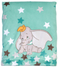 Disney Dumbo Velboa Plush Blanket w/Coral Fleece back