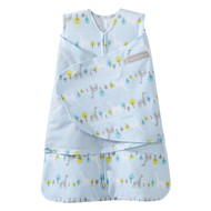 Halo SleepSack 100% Cotton Swaddle, Linear print Jungle Blue, NB