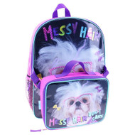 """""""Messy Hair"""" Dogs 16"""" Backpack and Lunch Bag"""