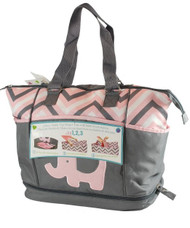 """Tender Kisses """"Zigzag Elephant"""" Diaper Tote with Rest Station - pink, one size"""