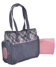 Fisher Price Fastfinder Plaid Tote, Grey/Pink