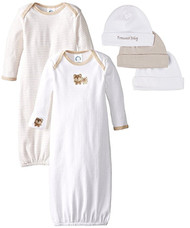 Gerber Baby Unisex 2 Pack Gowns and 3 Pack Cap Set