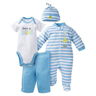 Gerber Baby Baby Boys' 4 Piece Bodysuit, Sleeper, Cap, and Pant Set - Born in 2016  3M