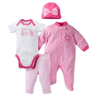Gerber Baby Baby Girls' 4 Piece Bodysuit, Sleeper, Cap, and Pant Set - Born in 2016 6m