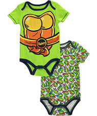"""TMNT Baby Boys' """"Turtle Chest"""" 2-Pack Bodysuits"""
