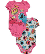 "Sesame Street Baby Girls' ""3 BFFs"" 2-Pack Bodysuits"