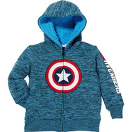 Marvel Boys Superhero Lined Full Zip Hoodie Jacket Captain America