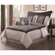 Louise Taupe/Chocloate Flocking 7-piece Comforter Set, Cal King