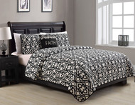 3 Piece King Faith Black/White Quilt Set
