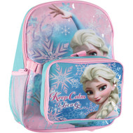 Disney Little Girls' Frozen Keep Calm & Let It Go Backpack and Lunch Bag Set