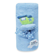 Baby Essentials Train Rattle and Plush Blue Blanket