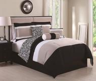6 Piece Full Amelina Black/Taupe Reversible Comforter Set