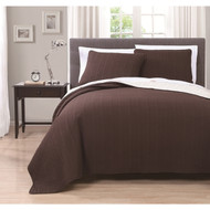 Benton Solid Reversable 3-piece Coverlet Set King Chocolate/Ivory