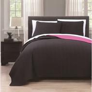 Benton Solid Reversable 3-piece Coverlet Set Queen Black/Hot Pink