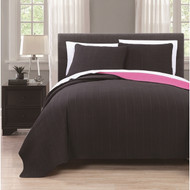 Benton Solid Reversable 3-piece Coverlet Set Queen Black/Hot Pink