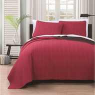 Benton Solid Reversable 3-piece Coverlet Set King Red/Chocolate