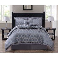 Costello 7-piece Jacquard Steel Gray Comforter Set, Califronia King Size