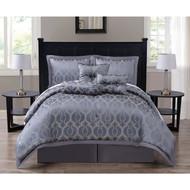 Costello 7-piece Jacquard Steel Gray Comforter Set, Califronia King Size