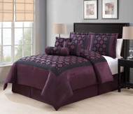 7 Piece King Elmery Plum/Black Flocking Comforter Set