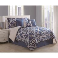 Eliza 7-piece Scroll Denim/ Ivory Comforter Set (King)