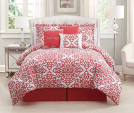 7 Piece Cal King Fantasy Coral/White Comforter Set