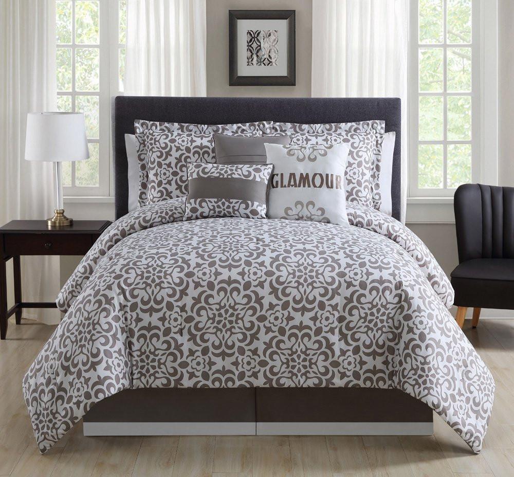 7 Piece Cal King Glamour Taupewhite Comforter Set