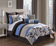 10 Piece Cal King Eve Blue and Chocolate Reversible Comforter Set