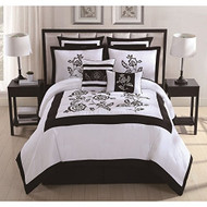 Estella Black/ White 8-piece Embroidered Comforter Set King
