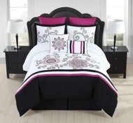8 Piece Kassandra Rose/Black/White Comforter Set King