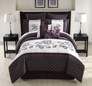 8 Piece Queen Matilda Plum/Ivory Comforter Set