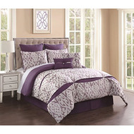 8 Piece Rianna Jacquard Purple/Ivory Comforter Set King