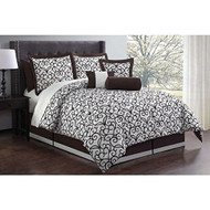 Zina Chocolate 11-piece Bed in a Bag with Sheet Set (Cal King)