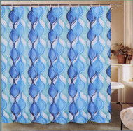 Oxford Studio Shower Curtain and Hooks Set (Cassie Waves Blue)