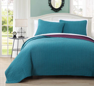 3 Piece Queen Project Runway Teal/Plum Quilt Set