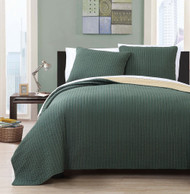 3 Piece Queen Project Runway Olive/Gold Quilt Set