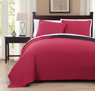 3 Piece Queen Project Runway Red/Black Quilt Set