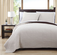 3 Piece Queen Project Runway Ivory/Coffee Quilt Set
