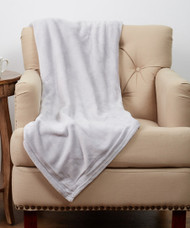 Luxe Plush Light Gray Throw
