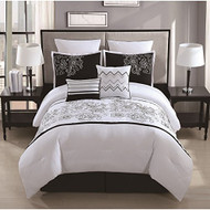 Saldana 8 Piece Rose Embroidered Comforter Set (King)