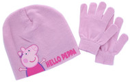 Peppa Pig Hello Peppa Pink Knit Beanie Hat and Glove 2 piece Girls Set
