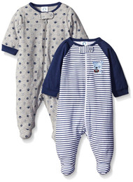 Gerber Baby Boy 2-Pack Zip Up Sleep N' Play Footies