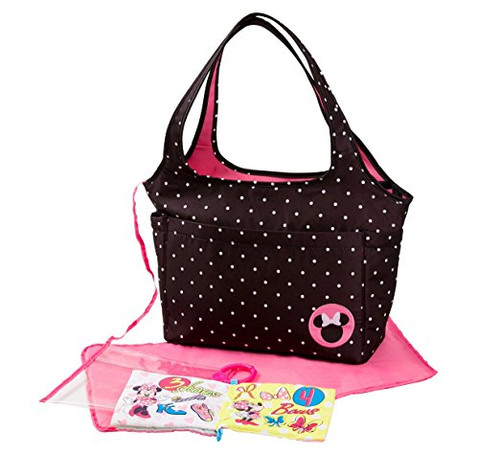 ... Disney Minnie Mouse Large Tote with Crinkle Toy Book, Black. Image 1 43a5d759db1