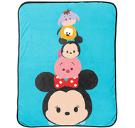 "Disney Tsum Tsum ""Faces"" Flannel Plush with Silk Touch Reverse Throw"