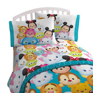 "Disney Tsum Tsum ""Character Teal"" Twin Sheet Set"