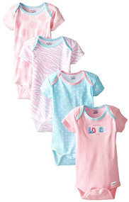 Gerber Baby Girls 4-Pack Variety Onesies